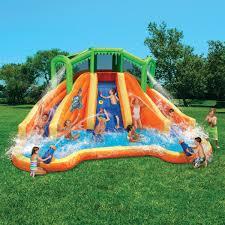 banzai twin falls lagoon inflatable water slide with climbing wall