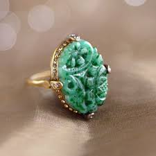vintage jade glass ring art deco ring vintage jewelry green