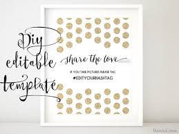 wedding signs template printable hashtag sign template diy wedding hashtag sign