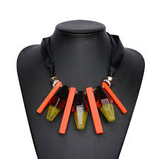 resin necklace wholesale images Wholesale orange yellow resin geometric long ribbon chain jpg