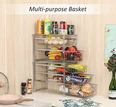 the kitchen sink cabinet organization tqvai stackable 3 tier pull out sink cabinet organizer with sliding basket drawer chrome silver
