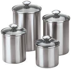 Kitchen Canister by Fingerhut Chef U0027s Mark 4 Pc Stainless Steel Canister Set