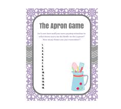 purple apron game bridal shower game magical printable wedding