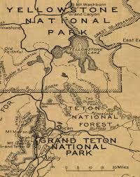 Yellowstone Lodging Map Yellowstone National Park Map 1929 U2014 Purple Moose Basics