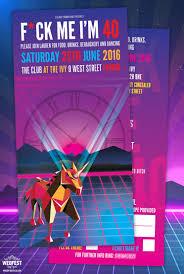 retro 80s 90s rave flyer style party invitation wedfest