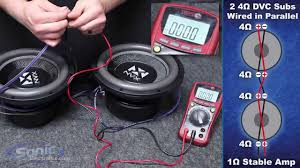 how to wire two dual 4 ohm subwoofers to a 1 ohm final impedance