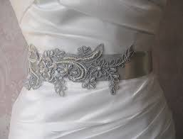 Dove Gray Wedding Dress Silver Lace Bridal Sash Light Grey Gray Bridal Belt Bridesmaid