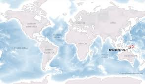 South Africa On World Map by Bismarck Sea Map By Freeworldmaps Net