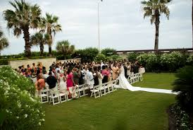 galveston wedding venues hotel galvez outdoor ceremony set up in galveston wedding