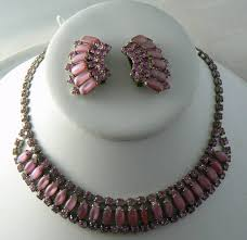 pink rhinestone necklace images Vintage juliana style pink milk glass rhinestone necklace earring set jpeg