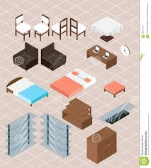 isometric furniture collection interior design concept set stock