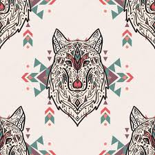 vector grunge colorful seamless pattern with tribal style wolf