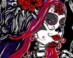 carolina satin paper art print day of the dead tattoo dia