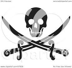 royalty free rf clipart illustration of a black skull over