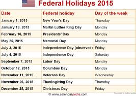 federal holidays 2015 list united states official list