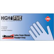 latex quote in box high five disposable long cuff powder free latex exam gloves