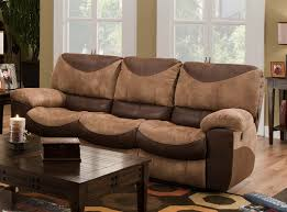 Two Tone Reclining Sofa Reclining Sofa In Two Tone Chocolate And Saddle Fabric By