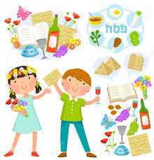 seder for children set of passover illustrations with kids and related symbols