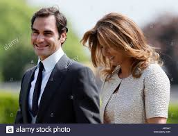 Englefield Berkshire Roger Federer And His Wife Mirka Arrive At St Mark U0027s Church In