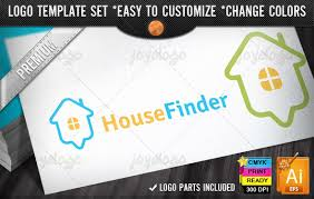online home finder map pointer house search logo design template