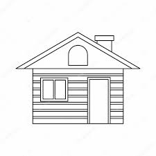 wooden log house icon outline style u2014 stock vector ylivdesign