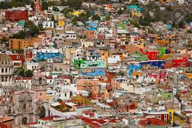 colorful cities colorful houses on the hills of guanajuato mexico stock photo