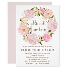 bridal lunch invitations peonies wreath baby shower invitation zazzle