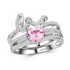 pink wedding rings and heart design pink diamond ring set