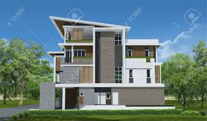3d rendering exclusive tropical modern house stock photo picture