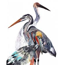 heron and crane print by michelle morin