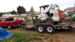 Dodge 1500 Truck Camper - dodge ram 1500 hemi trying to push trailer and bobcat up hill