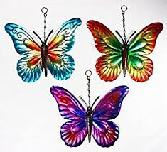 set of 3 metal hanging butterfly garden ornaments wall