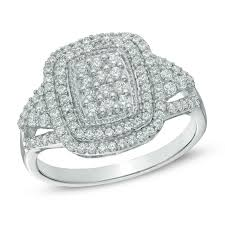 zales black friday 2017 1 2 ct t w diamond cluster double frame ring in 10k white gold