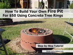 build a backyard fire pit how to build your own fire pit for 50 using concrete tree rings