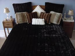 Faux Fur Comforter Set King Dark Brown Channeled Mink Fake Faux Fur Blanket Throw Comforter