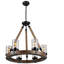 Antique Wood Chandelier Anmytek Metal Wood And Glass Chandelier Pendent Light Retro Rustic