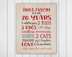 20 year wedding anniversary gifts 20th anniversary story print 20 year anniversary gift