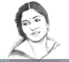 pencil sketch traditional indian woman touchtalent for drawing