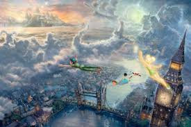 tinker bell and pan fly to neverland the kinkade