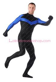 Halloween Costumes Nightwing Cheap Black Blue Lycra Stage Show Spandex Cosplay Costumes
