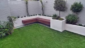 artificial grass easi grass grey painted fences modern garden