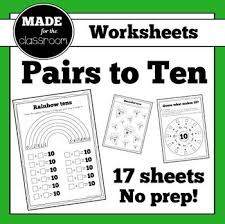pairs to 10 worksheets for addition facts that make 10 tpt