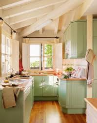 Lighting Design Kitchen Small Rustic Kitchen At The Corner With Pretty Green Cabinets And