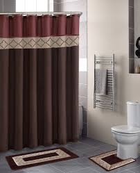 Bathroom Decor Shower Curtains Rust Brown Modern Shower Curtain 15 Pcs Bath Rug Mat Contour Hooks