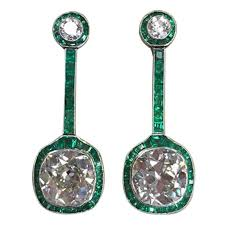 emerald drop earrings deco emerald diamond platinum drop earrings for sale at 1stdibs