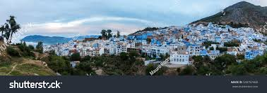 The Blue City Morocco by Panorama View Blue City Chefchaouen Located Stock Photo 543757468