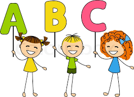 cute little kids with abc letters stock vector colourbox
