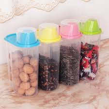 4 pc set kitchen plastic storage canisters large plastic clear