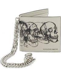 alexander mcqueen sketched skull leather chain wallet men u0027s