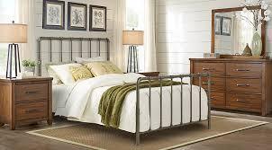 Wood And Iron Bedroom Furniture Plains Brown 5 Pc Metal Bedroom Bedroom Sets